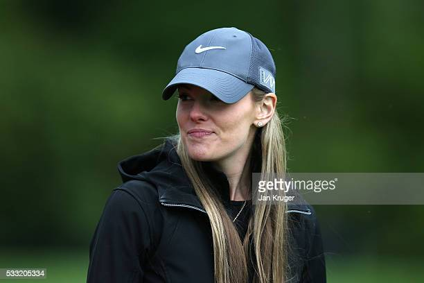Rory McIlroy of Northern Ireland's fiancee Erica Stoll looks on during the third round of the Dubai Duty Free Irish Open Hosted by the Rory...