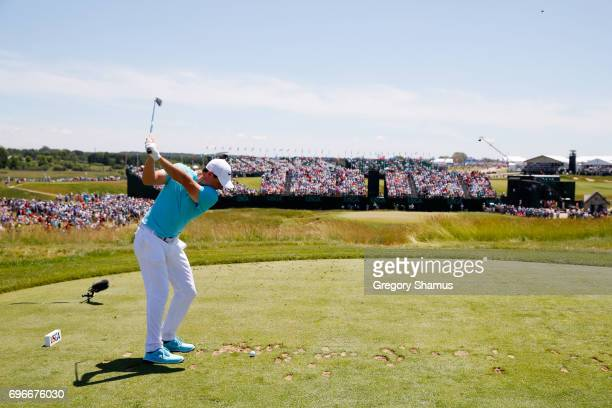Rickie Fowler of the United States plays his shot from the ninth tee during the second round of the 2017 US Open at Erin Hills on June 16 2017 in...
