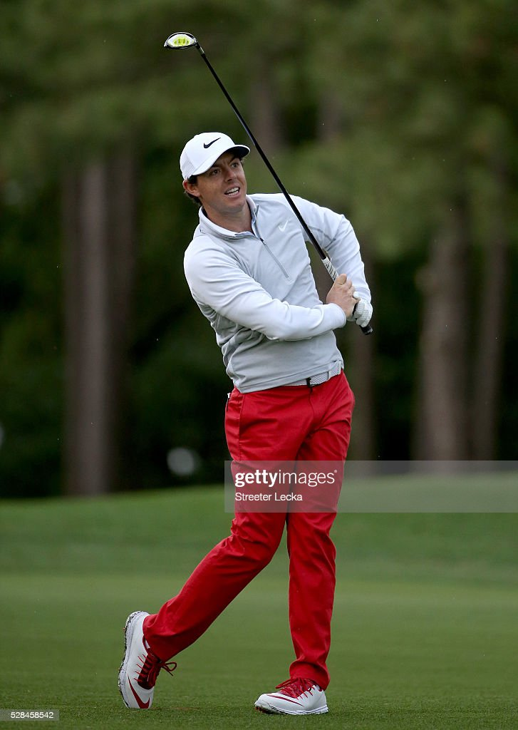 <a gi-track='captionPersonalityLinkClicked' href=/galleries/search?phrase=Rory+McIlroy&family=editorial&specificpeople=783109 ng-click='$event.stopPropagation()'>Rory McIlroy</a> reacts to a shot on the 10th hole during the first round of the 2016 Wells Fargo Championship at Quail Hollow Club on May 5, 2016 in Charlotte, North Carolina.