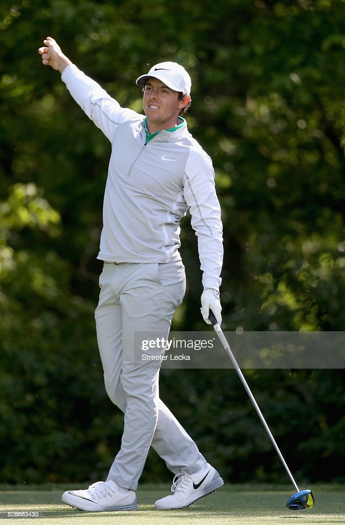 Rory McIlroy reacts to a tee shot on the 12th hole during the second round of the 2016 Wells Fargo Championship at Quail Hollow Club on May 6, 2016 in Charlotte, North Carolina.