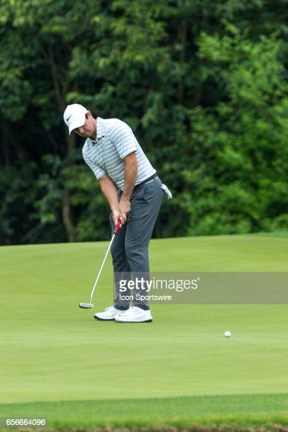 Rory McIlroy sinks a birdie putt during the WGCDell Technologies Match Play First Round on March 22 at Austin Country Club in Austin TX