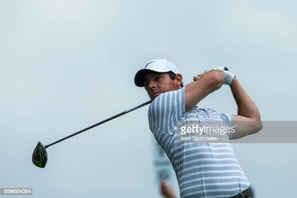Rory McIlroy tees off during the WGCDell Technologies Match Play First Round on March 22 at Austin Country Club in Austin TX