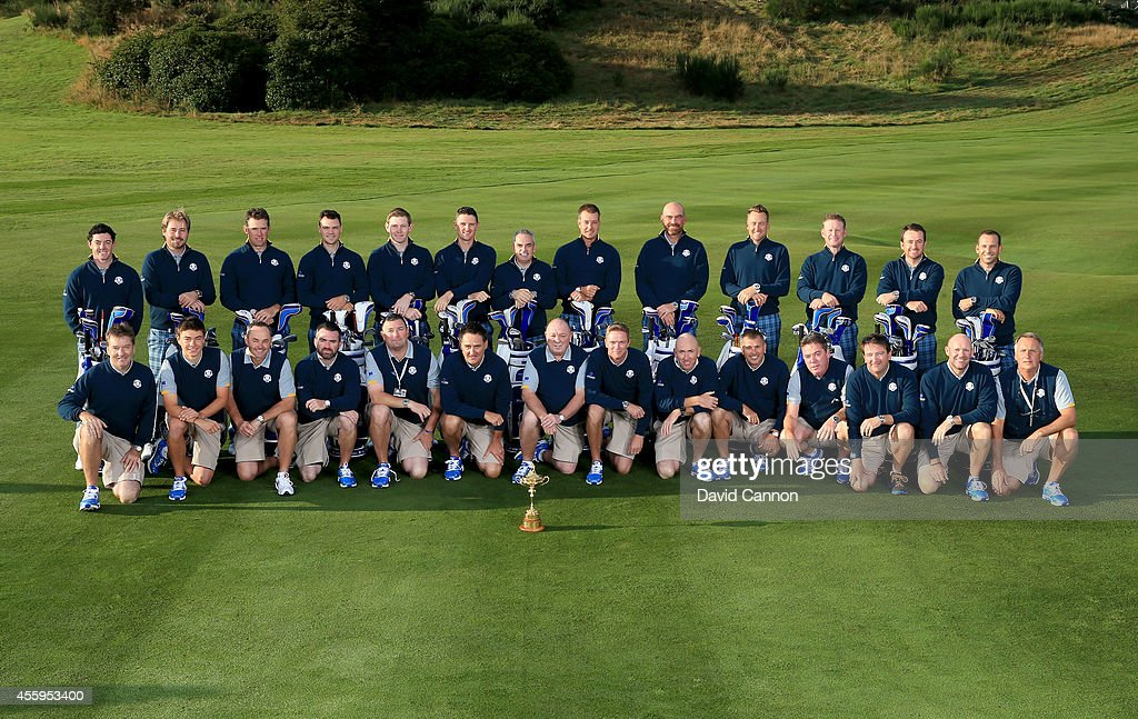 <a gi-track='captionPersonalityLinkClicked' href=/galleries/search?phrase=Rory+McIlroy&family=editorial&specificpeople=783109 ng-click='$event.stopPropagation()'>Rory McIlroy</a>, <a gi-track='captionPersonalityLinkClicked' href=/galleries/search?phrase=Victor+Dubuisson&family=editorial&specificpeople=3333395 ng-click='$event.stopPropagation()'>Victor Dubuisson</a>, <a gi-track='captionPersonalityLinkClicked' href=/galleries/search?phrase=Lee+Westwood&family=editorial&specificpeople=171611 ng-click='$event.stopPropagation()'>Lee Westwood</a>, <a gi-track='captionPersonalityLinkClicked' href=/galleries/search?phrase=Martin+Kaymer&family=editorial&specificpeople=2143733 ng-click='$event.stopPropagation()'>Martin Kaymer</a>, <a gi-track='captionPersonalityLinkClicked' href=/galleries/search?phrase=Stephen+Gallacher&family=editorial&specificpeople=215277 ng-click='$event.stopPropagation()'>Stephen Gallacher</a>, <a gi-track='captionPersonalityLinkClicked' href=/galleries/search?phrase=Justin+Rose&family=editorial&specificpeople=171559 ng-click='$event.stopPropagation()'>Justin Rose</a>, Europe team captain Paul McGinley, Henrik Stenson, Thomas Bjorn, Ian Poulter, Jamie Donaldson, Graeme McDowell and Sergio Garcia pose with their caddies during the European team photocall ahead of the 2014 Ryder Cup on the PGA Centenary course at the Gleneagles Hotel on September 23, 2014 in Auchterarder, Scotland.