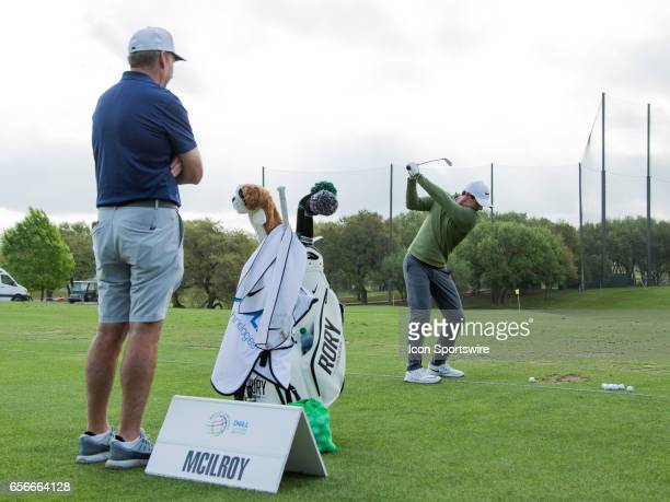 Rory McIlroy warming up for his first match during the WGCDell Technologies Match Play First Round on March 22 at Austin Country Club in Austin TX