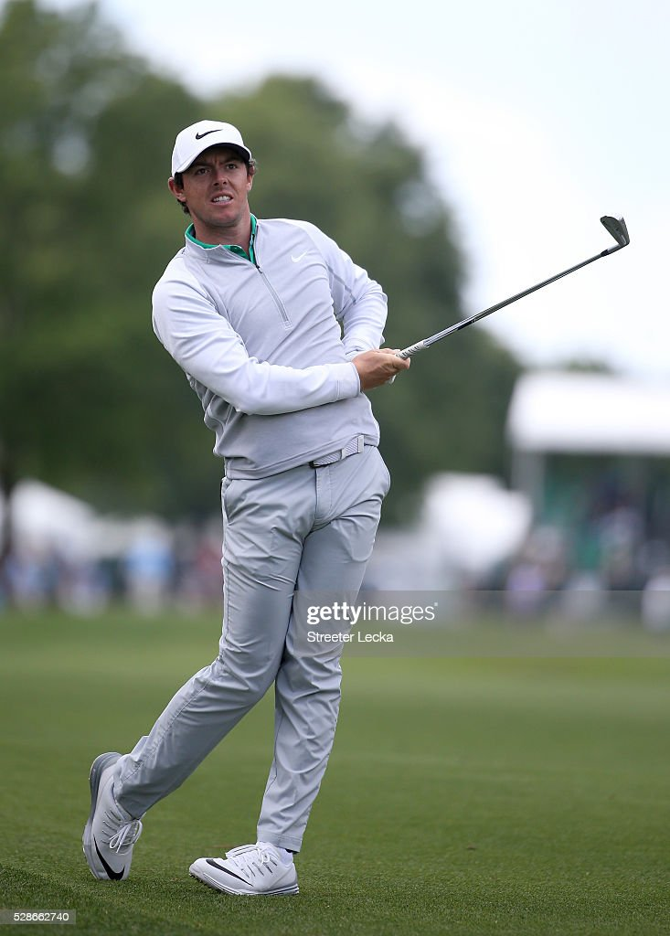 Rory McIlroy watches a shot on the 10th hole during the second round of the 2016 Wells Fargo Championship at Quail Hollow Club on May 6, 2016 in Charlotte, North Carolina.