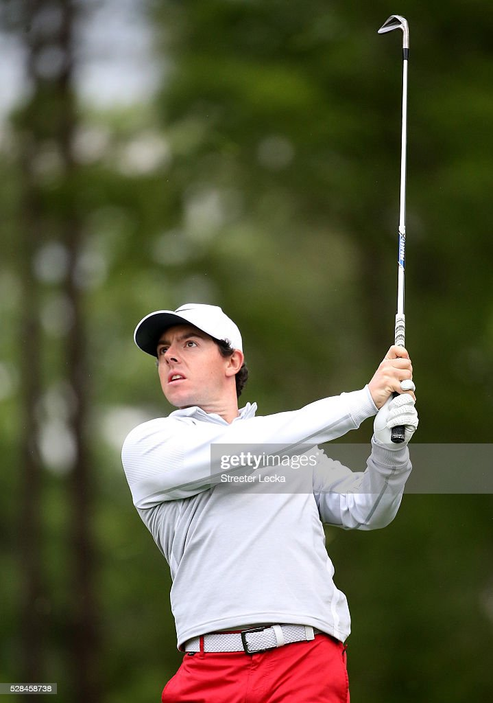 <a gi-track='captionPersonalityLinkClicked' href=/galleries/search?phrase=Rory+McIlroy&family=editorial&specificpeople=783109 ng-click='$event.stopPropagation()'>Rory McIlroy</a> watches a shot on the 11th hole during the first round of the 2016 Wells Fargo Championship at Quail Hollow Club on May 5, 2016 in Charlotte, North Carolina.