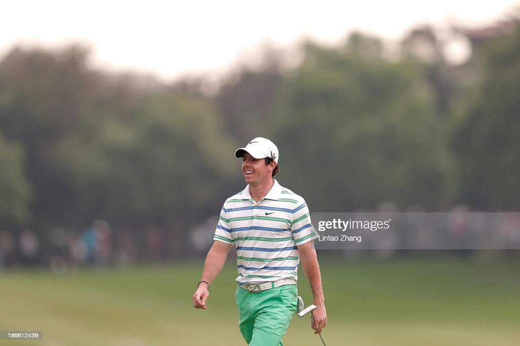 Rory McIroy of Northern Ireland smiles as he walks to the 18th hole during the thrid round of the WGC - HSBC Champions at the Sheshan International Golf Club on November 2, 2013 in Shanghai, China.