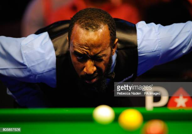 Rory McLeod eyes up his next shot during his match against Mark Williams