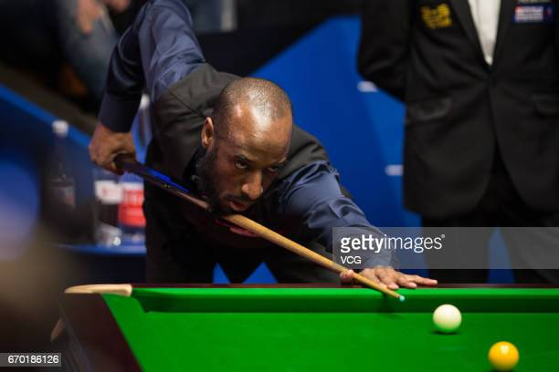 Rory McLeod of England plays a shot during his first round match against Judd Trump of England on day five of Betfred World Championship 2017 at...