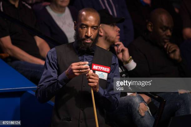Rory McLeod of England reacts during his first round match against Judd Trump of England on day five of Betfred World Championship 2017 at Crucible...
