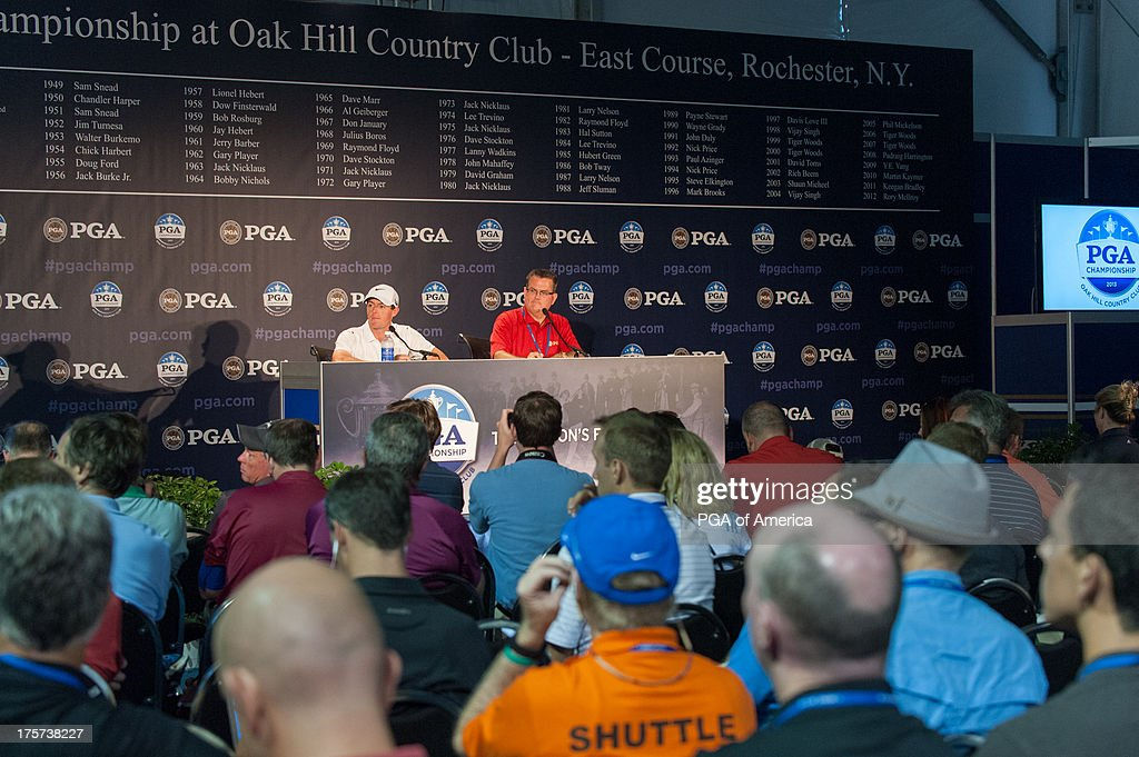 Rory Mcllory of Ireland gives an interview in the Media Center during the 95th PGA Championship at Oak Hill Country Club on August 7 2013 in...
