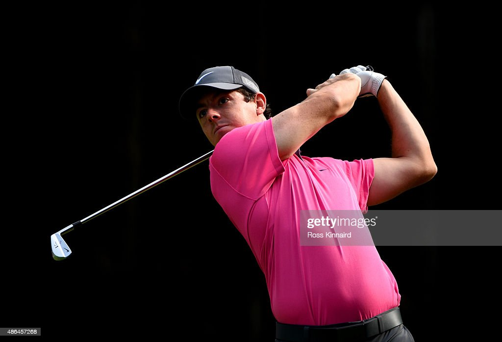 Rory Mcllroy of Northern Ireland watches his tee shot on the eleventh hole during round one of the Deutsche Bank Championship at TPC Boston on September 4, 2015 in Norton, Massachusetts.