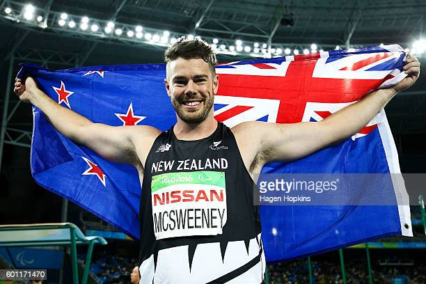 Rory McSweeney of New Zealand celebrates after winning the bronze medal in the Men's Javelin F44 final on day 2 of the Rio 2016 Paralympic Games at...