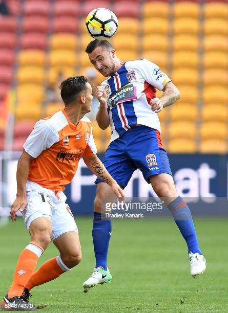 Rory O'Donovan of the Jets heads the ball during the round three ALeague match between the Brisbane Bullets and the Newcastle Jets at Suncorp Stadium...