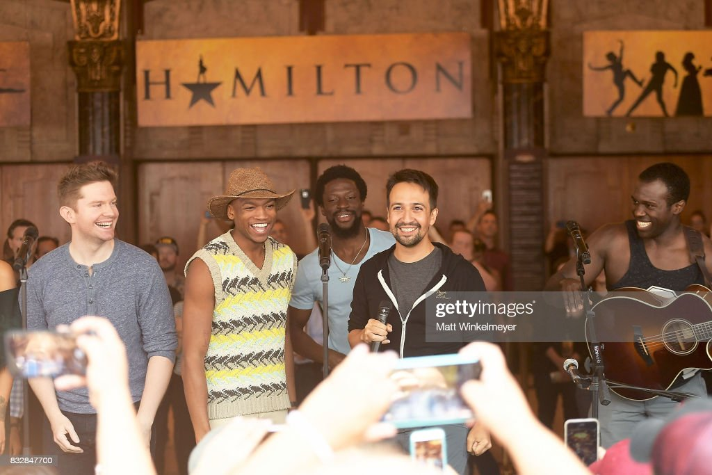 Rory O'Malley, Keenan D. Washington, Michael Luwoye, Lin-Manuel Miranda and Joshua Henry perform onstage during the #Ham4Ham featuring Lin-Manuel Miranda at the Pantages Theatre on August 16, 2017 in Hollywood, California.