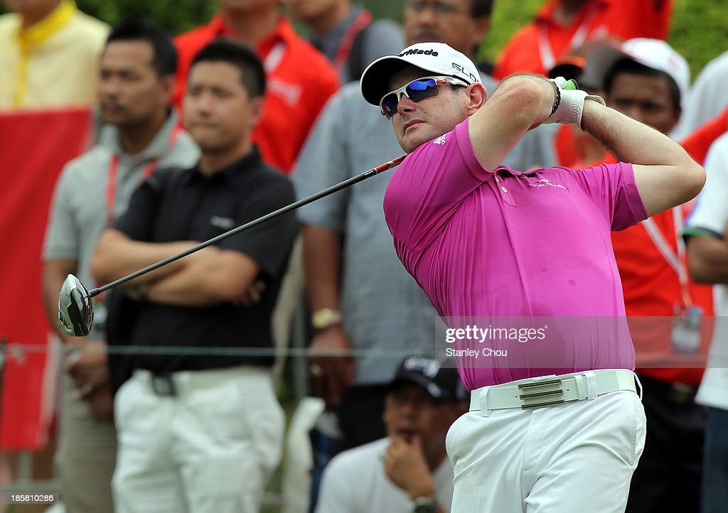 Rory Sabatini of South Africa tees off on the 1st hole during round two of the CIMB Classic at Kuala Lumpur Golf & Country Club on October 25, 2013 in Kuala Lumpur, Malaysia.