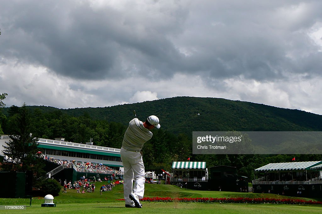 Rory Sabbatini watches his tee shot on the 18th hole during round two of the Greenbrier Classic at the Old White TPC on July 5, 2013 in White Sulphur Springs, West Virginia.