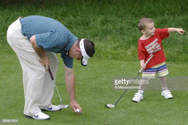 Rory Sabbatini with his son Harley during practice for the Barclays Classic held at Westchester Country Club in Rye New York on June 6 2006