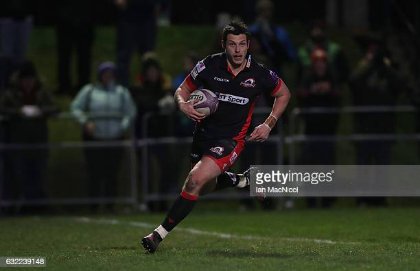 Rory Scholes of Edinburgh scores his teams fifth try during the European Rugby Challenge Cup match between Edinburgh Rugby and Timisoara Saracens at...