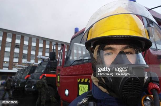 'Rory' Simpson of 29 Commando stands by his 'Red Godess' fire truck at Chelsea Barracks London Last ditch efforts to avert an eight day strike by the...