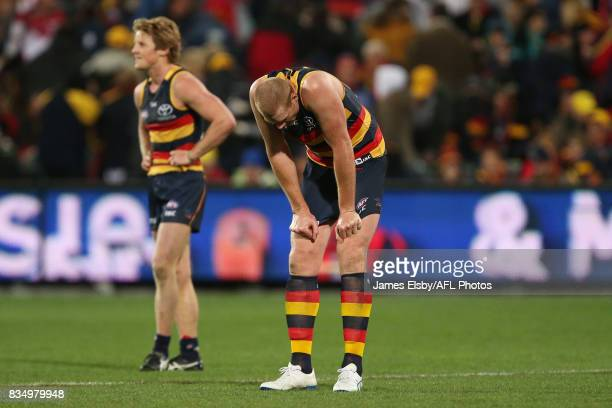 Rory Sloane and Sam Jacobs of the Crows after their loss during the 2017 AFL round 22 match between the Adelaide Crows and the Sydney Swans at...