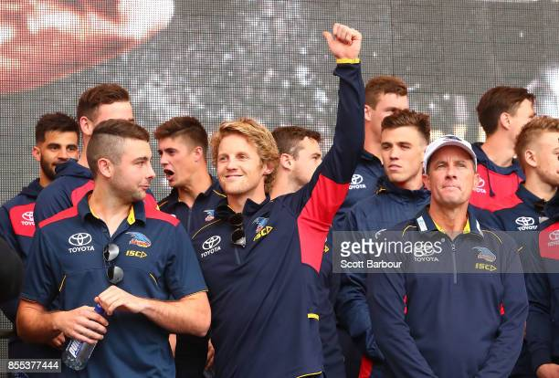 Rory Sloane of the Crows and Don Pyke coach of the Crows look on the 2017 AFL Grand Final Parade on September 29 2017 in Melbourne Australia