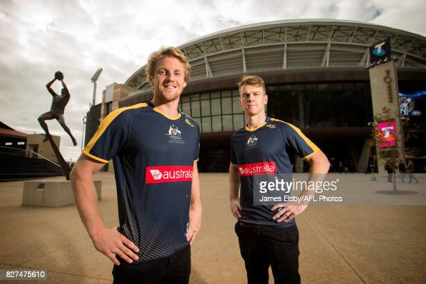 Rory Sloane of the Crows and Robbie Gray of the Power pose during the media conference to confirm match dates in Adelaide and Perth respectively for...