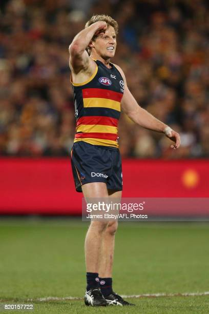 Rory Sloane of the Crows celebrates a goal during the 2017 AFL round 18 match between the Adelaide Crows and the Geelong Cats at the Adelaide Oval on...
