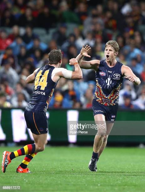 Rory Sloane of the Crows celebrates a goal during the round 10 AFL match between the Adelaide Crows and the Fremantle Dockers at Adelaide Oval on May...