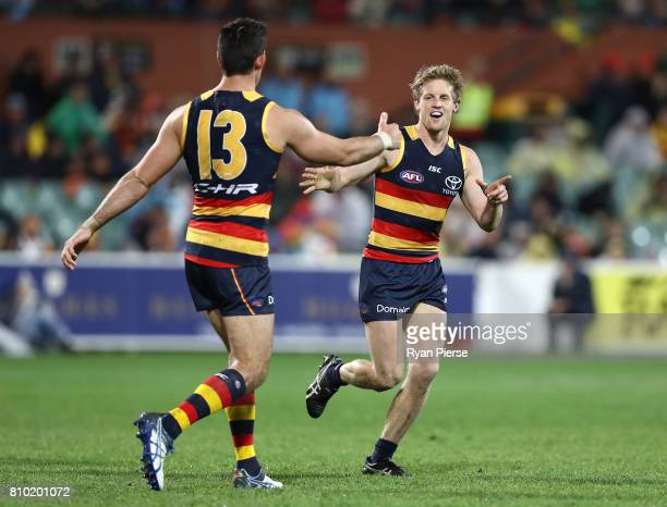 Rory Sloane of the Crows celebrates a goal during the round 16 AFL match between the Adelaide Crows and the Western Bulldogs at Adelaide Oval on July...