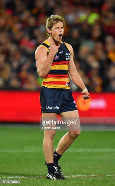 Rory Sloane of the Crows celebrates after kicking a goal during the round 18 AFL match between the Adelaide Crows and the Geelong Cats at Adelaide...