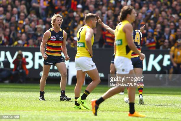 Rory Sloane of the Crows celebrates kicking the first goal of the match during the 2017 AFL Grand Final match between the Adelaide Crows and the...
