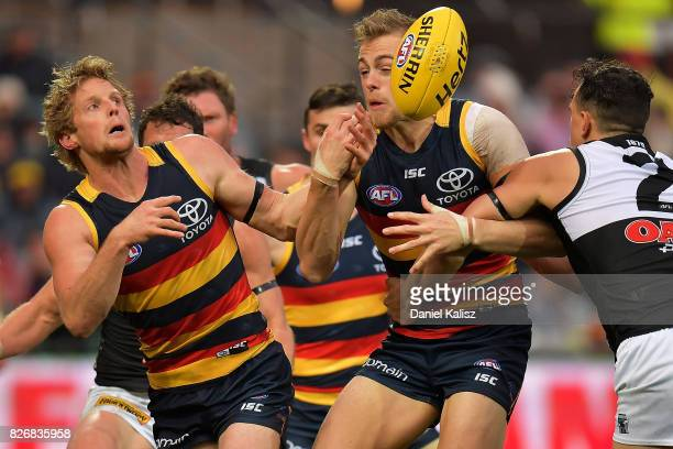 Rory Sloane of the Crows competes for the ball during the round 20 AFL match between the Adelaide Crows and the Port Adelaide Power at Adelaide Oval...