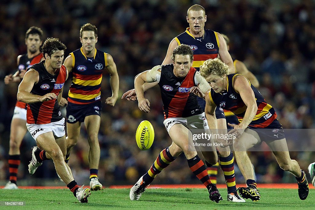 Rory Sloane of the Crows competes for the ball during the round one AFL match between the Adelaide Crows and the Essendon Bombers at AAMI Stadium on March 22, 2013 in Adelaide, Australia.