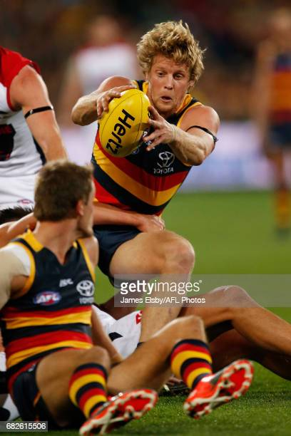 Rory Sloane of the Crows emerges with the ball during the 2017 AFL round 08 match between the Adelaide Crows and the Melbourne Demons at the Adelaide...