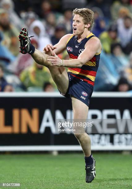 Rory Sloane of the Crows kicks during the round 16 AFL match between the Adelaide Crows and the Western Bulldogs at Adelaide Oval on July 7 2017 in...