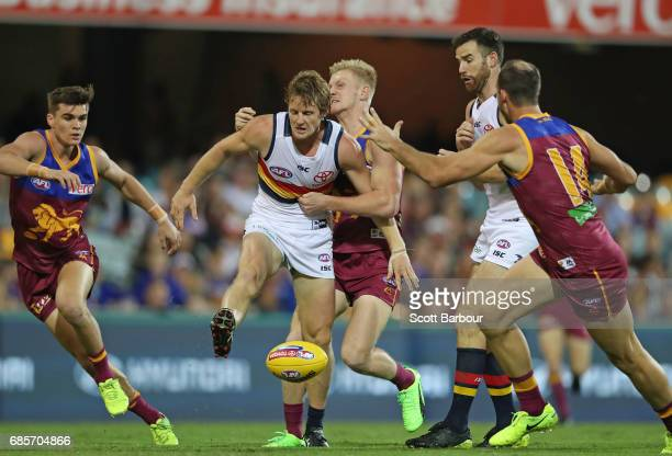 Rory Sloane of the Crows kicks the ball during the round nine AFL match between the Brisbane Lions and the Adelaide Crows at The Gabba on May 20 2017...