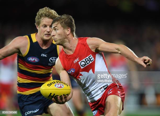 Rory Sloane of the Crows Kieren Jack of the Swans competes during the round 22 AFL match between the Adelaide Crows and the Sydney Swans at Adelaide...