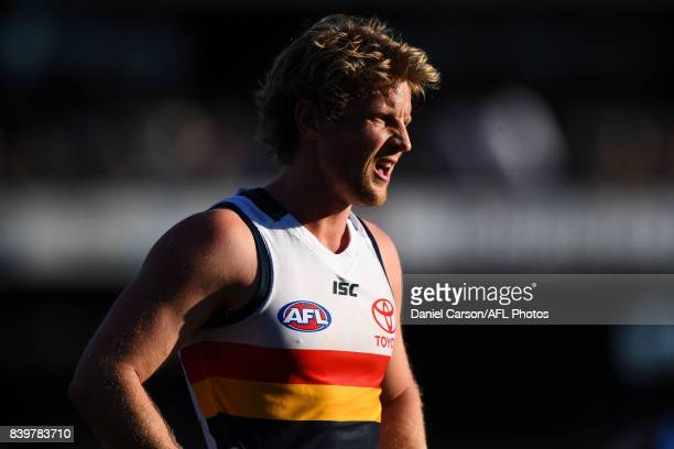 Rory Sloane of the Crows looks on during the 2017 AFL round 23 match between the West Coast Eagles and the Adelaide Crows at Domain Stadium on August...