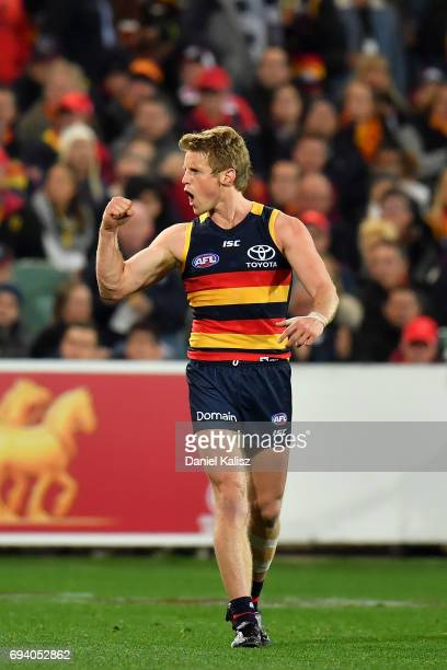 Rory Sloane of the Crows reacts after kicking a goal during the round 12 AFL match between the Adelaide Crows and the St Kilda Saints at Adelaide...