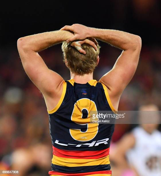 Rory Sloane of the Crows reacts during the round 14 AFL match between the Adelaide Crows and the Hawthorn Hawks at Adelaide Oval on June 22 2017 in...