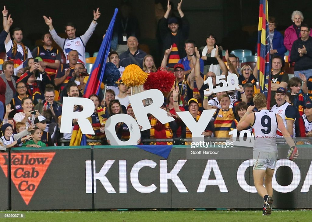 Rory Sloane of the Crows thanks his supporters in the crowd after playing his 150th game and winning the round nine AFL match between the Brisbane Lions and the Adelaide Crows at The Gabba on May 20, 2017 in Brisbane, Australia.
