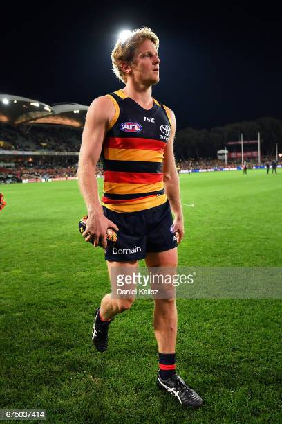 Rory Sloane of the Crows walks from the ground after the round six AFL match between the Adelaide Crows and the Richmond Tigers at Adelaide Oval on...