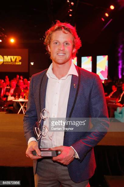 Rory Sloane of the Crows wins the most courageous award during the AFL Players' MVP Awards at Shed 14 Central Pier on September 12 2017 in Melbourne...