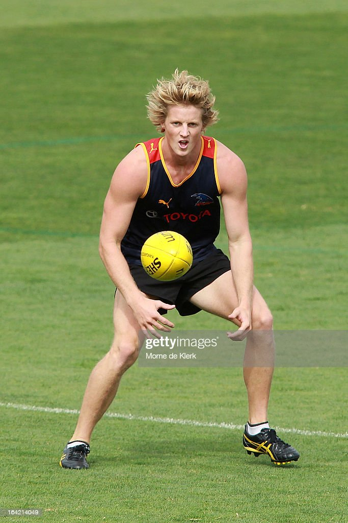 Rory Sloane waits for the ball during an Adelaide Crows AFL training session at AAMI Stadium on March 21, 2013 in Adelaide, Australia.