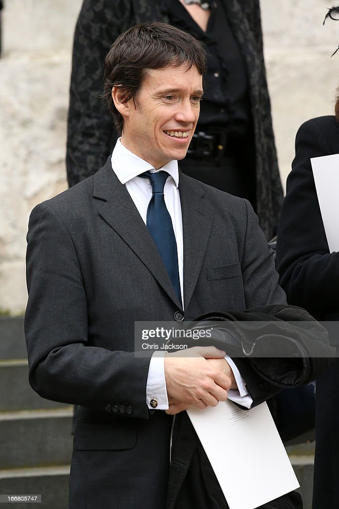 Rory Stewart departs the Ceremonial funeral of former British Prime Minister Baroness Thatcher at St Paul's Cathedral on April 17 2013 in London...