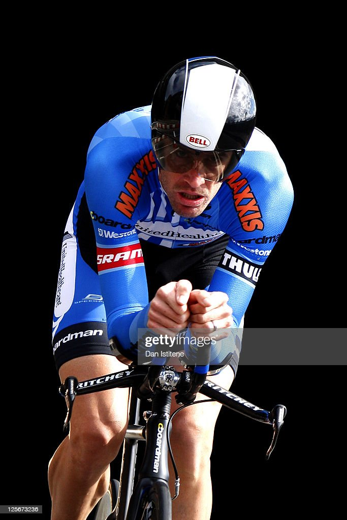 Rory Sutherland of Australia and Team UnitedHealthCare emerges from a tunnel in Lower Thames Street as he competes in the Individual Time Trial during Stage Eight of the Tour of Britain on September 18, 2011 in London, England.