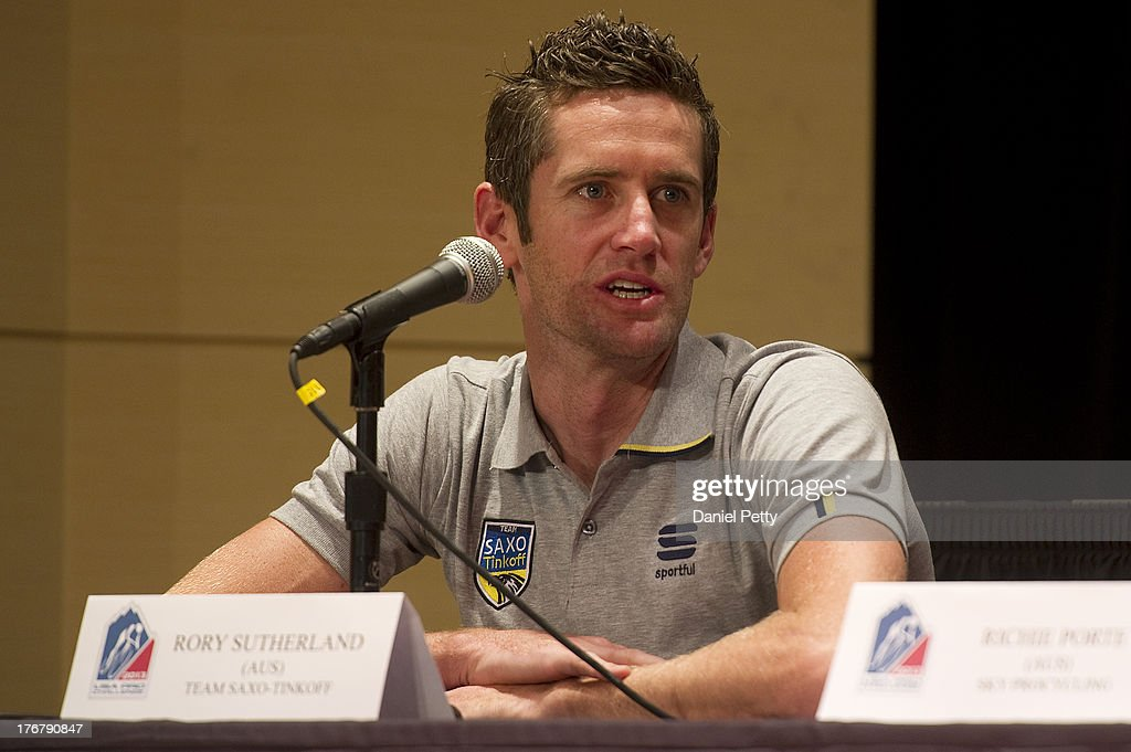 <a gi-track='captionPersonalityLinkClicked' href=/galleries/search?phrase=Rory+Sutherland+-+Cyclist&family=editorial&specificpeople=15674435 ng-click='$event.stopPropagation()'>Rory Sutherland</a> of Australia racing for Team Saxo-Tinkoff speaks during a pre-race press conference for the USA Pro Challenge at the Aspen Institute on August 18, 2013, in Aspen, Colorado. Sutherland lives in Boulder, Colorado.