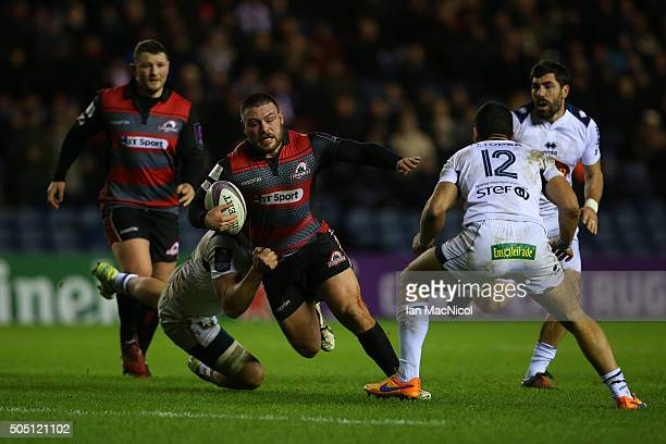 Rory Sutherland of Edinburgh Rugby runs with the ball during the European Rugby Challenge Cup match between Edinburgh Rugby and Agen at Murrayfield...
