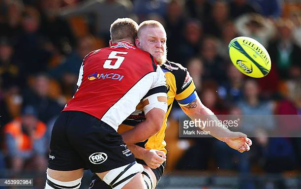 Rory Walton of the Spirit offloads during the round one National Rugby Championship match between the Canberra Vikings and Perth Spirit at Viking...